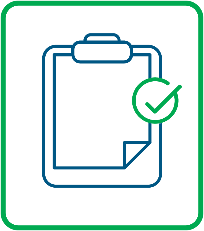 A graphic displaying a clip board with a check mark.