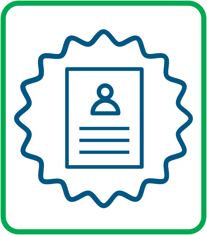 A graphic displaying a document and an official seal.