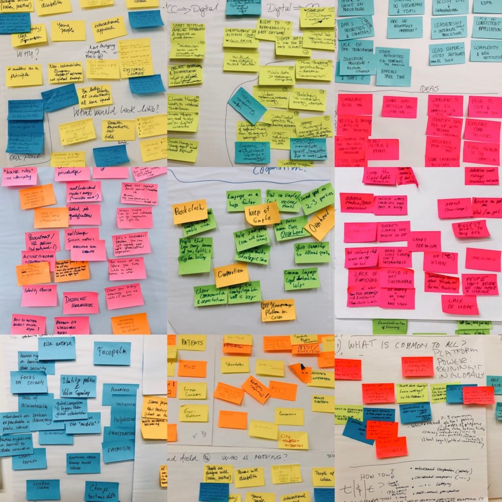 Coloured sticky notes from the strategy meeting