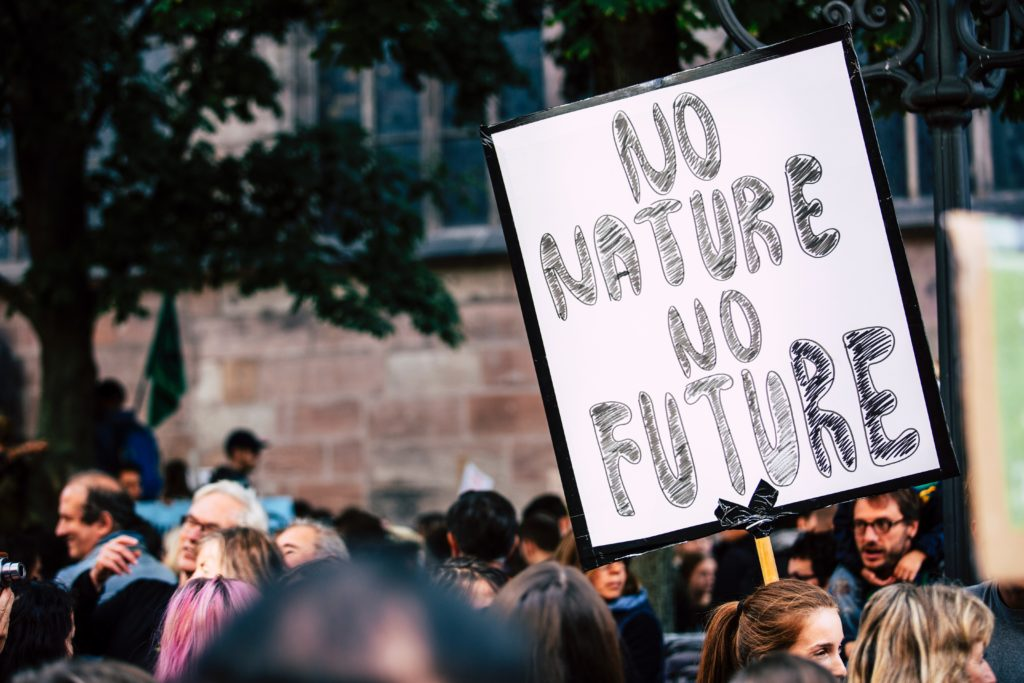 Protestor at protest holding sign saying 'No Nature No Future'