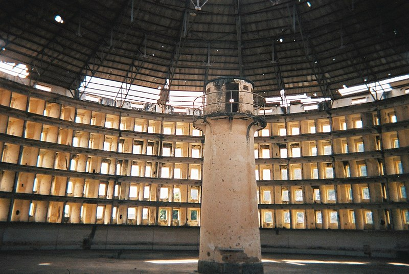 An all-seeing, prisonlike panopticon