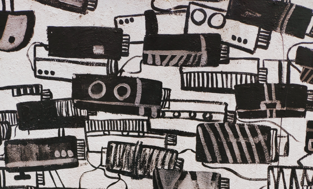 Messy black and white illustration of surveillance cameras