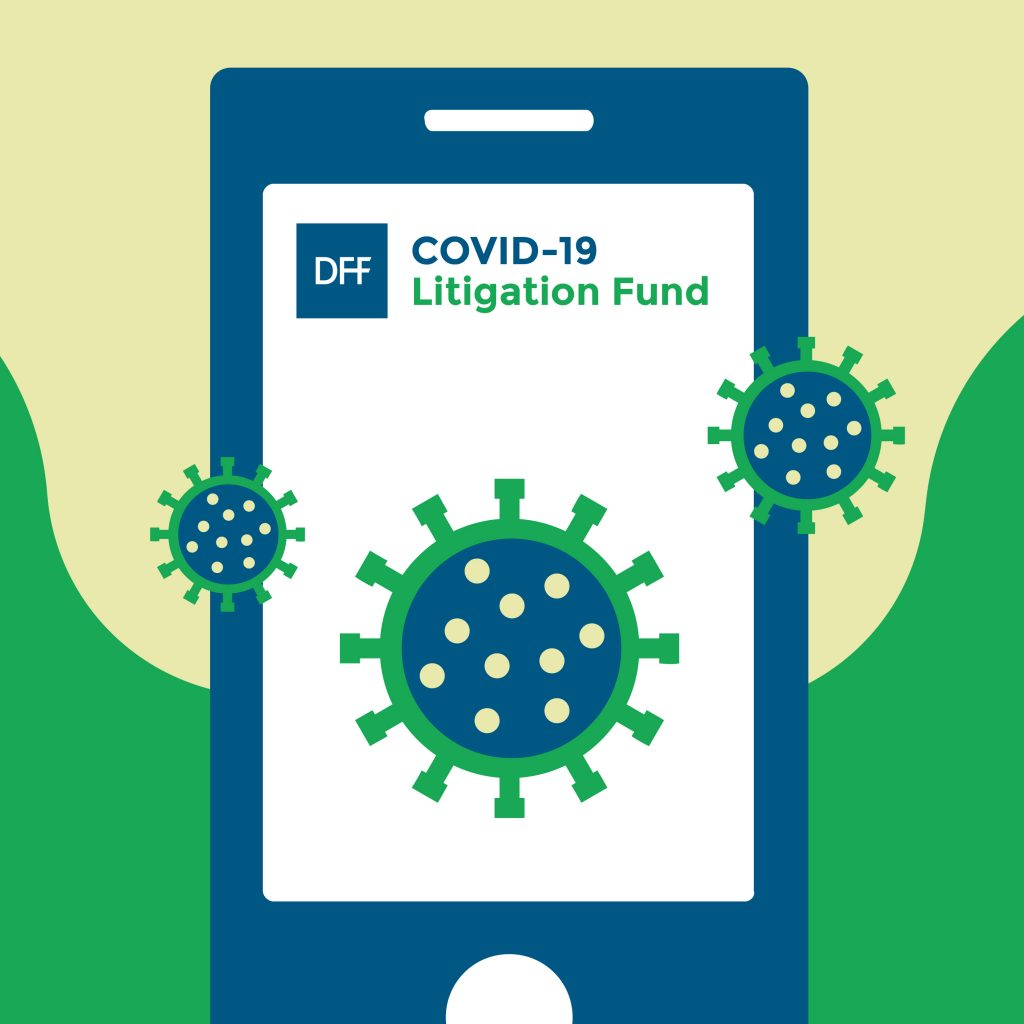 A smartphone that displays DFF Covid-19 litigation fund is surrounded by floating viruses.