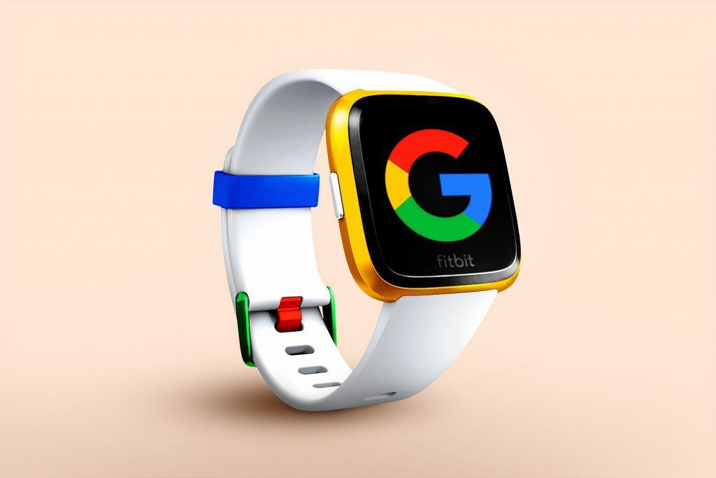 Graphic of Fitbit-like watch with the Google logo on the screen