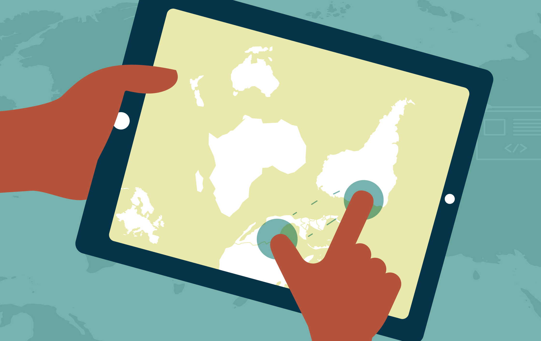 Illustration of hands touching a tablet with a non-Eurocentric map