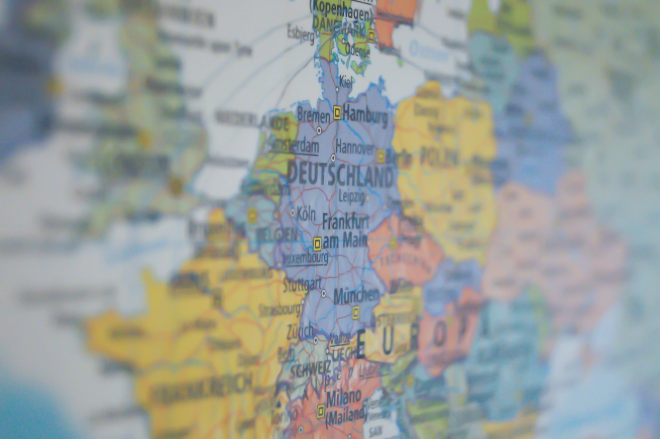 Zoomed in map of Europe. Photo by Pixabay